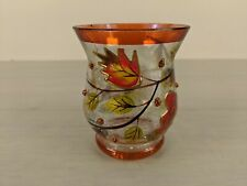 Crackle Glass Votive Tealight Candle Holders. Autumn Fall leaves Harvest