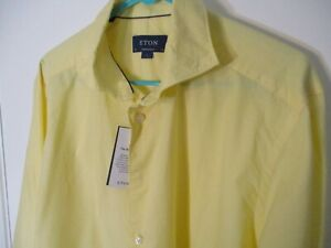 """New Large (16/34/35) Yellow ETON of Sweden """"Contemporary"""" 100% Cotton  Shirt-NWT"""