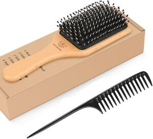 Boar Bristle Hairbrush For Thick Curly Hair Thin Long or Short Hair Paddle Brush