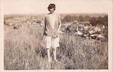 Young woman, hillside, 1920s, crochet cardigan, overlooking houses  RK119