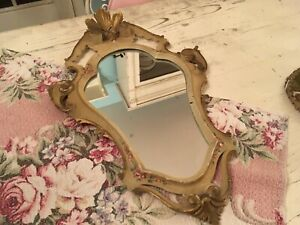 Beautiful Antique Mirror Wood Venetian Hand Painted Frame Roses Gilt