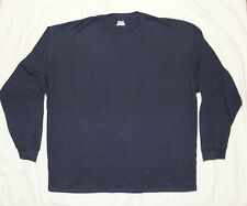 Mens Hanes Beefy Long Sleeve 100% Cotton Tee L Large Navy NEW