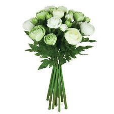 Artificial silk flowers Ranunculus arrangement Cream Green 15 stems 33cm