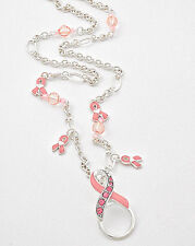 "30-32"" Rhinestone Pink Ribbon Breast Cancer Awareness Lanyard"