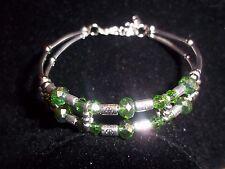 Hot Tibetan Silver Fashion Jewelry Dark Green Crystal Bead Bracelet B-48