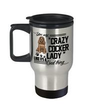 Crazy Cocker Spaniel Lady Travel Mug, Cocker Spaniel Mug, Cocker Spaniel Gifts