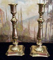 Fluted Brass Weighted Candlesticks