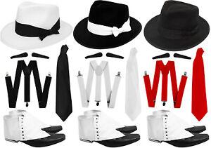 GANGSTER HAT BRACES TIE SPATS SPIV TASH 5 PIECE 1920'S FANCY DRESS COSTUME SET