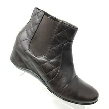 Aquatalia Brown Leather Quilted Bootie Hidden Wedge Ankle Boot Womens SIZE 5