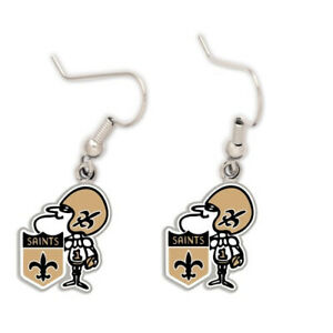 New Orleans Saints Retro Logo Earrings NEW!! Free Shipping 1x2 Centimeters