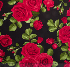 Timeless Treasures Glamour - Spaced Roses Black 100% cotton Fabric by the yard