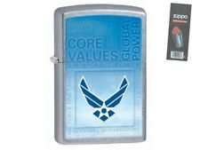 Zippo 28622 united states air force chrome finish full size Lighter + FLINT PACK