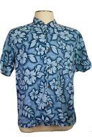 Billabong, Men's Small Hawaiian Shirt, Short Sleeves, Blue Floral Tropical Print