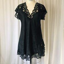 Vtg Eve Stillman Saks Fifth Avenue Nightgown Shirt Satiny Black Chantilly Lace S