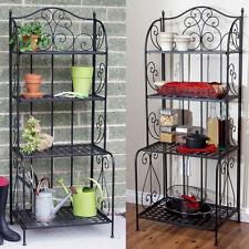 Black Folding Metal Outdoor Indoor Baker's Storage Rack Home Living Furniture