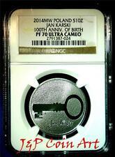 2014 Poland Silver 10zl NGC PF70  Centenary of the birth of Jan Karski
