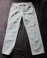 True Religion Billy Super T World Tour Blue Jeans Size W32-34 L30 Pre-distressed