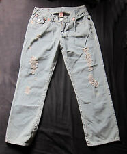 True Religion Billy Super T World Tour Blue Jeans Size W34-36 L30 Pre-distressed