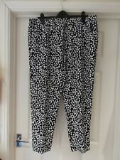 TU Summer Trousers White/Blue Slouch Look Spotty Print Tapered Leg UK Size 16