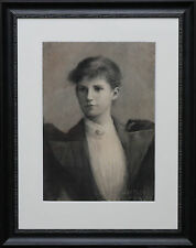 HARTLEY FORD EDWARDIAN FEMALE PORTRAIT PAINTING ART CHARCOAL DRAWING CIRCA 1905