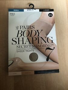 Bnib  2pairs Body Shaping Nat Tan 7 Denier Tights SzS Secret Slimming
