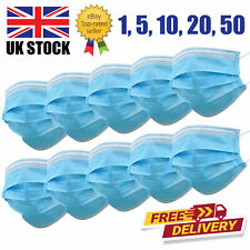 Premium Quality Face,Mouth & Nose Protection Disposible Masks 10's 20's & 50's