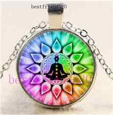 Flower of Life chakras Cabochon Glass Silver Chain Pendant Necklace