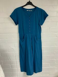 Ex Seasalt Blue Tunic Button Up Front Dress with Pockets Size 10 (AR4.117)