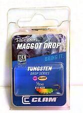 Clam Dave Genz UV Glow Maggot Drop 1/32 oz.Tungsten Blue / Chart Glow Bar Jigs