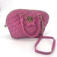 Betsey Johnson Women Pink Quilted Hearts Tote Bag Purse Handbag
