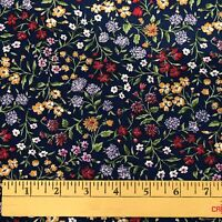 2 1/3 yds Vtg Calico Cotton Quilting Fabric Floral Multicolor on Navy Unbranded