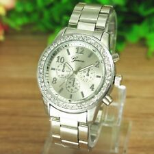 Fashion Crystal Womens Mens Watch Stainless Steel Band Quartz Wrist Watch Cheap