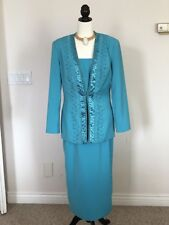 Midnight Velvet Embellished Career Cocktail Church Skirt Suit Baby Blue SIZE 8
