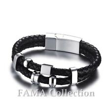 FAMA Double Braided Black Leather Bracelet with 316L Stainless Steel Beads