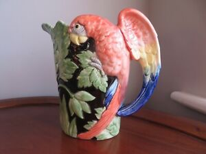 Fitz & Floyd Macaw Majolica Parrot Hand painted Pitcher 1 1/2 Quarts