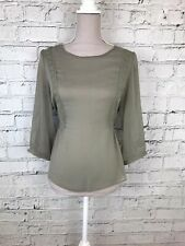Miss Selfridge Womens Khaki Thin Sheer Lace Detail 1/2 Sleeve Blouse Top Size 16
