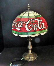 "Vintage Tiffany Style Coca Cola Lamp 12"" Diameter Shade Brass Base Coke Decor"
