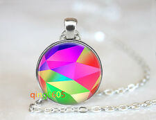 Abstract Neon photo Glass Cabochon Tibet silver Chain Pendant Necklace wholesale