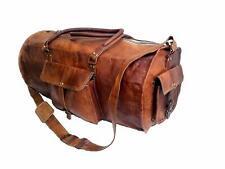 "Jaald 24"" Genuine Leather Men's Duffel Gym Sports Travel Weekend Duffle Bag."