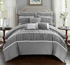 Gray Ruched Ruffled 10-Piece Complette Comforter Set Old World Charm King Size