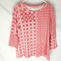 CHICO'S ZENERGY Shirt Size 3 Red Mirror Shimmer Design Stretch Womens