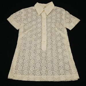 vintage Lace Shirt Womens Hand Embroidered Blouse Top sz Medium 80s
