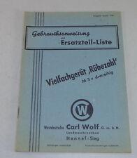 Mode D 'em Ploi + Catalogue des Pièces Loup Dispositif Multiple Rübezahl M 3 V