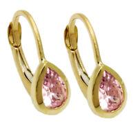 375 ECHT GOLD *** Kleine Zirkonia pink Bouton Ohrringe Ohrhänger 14 mm