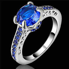 Women's Jewellry Size 8 Halo (Blue)  Sapphire White 10k Gold Filled Wedding Ring