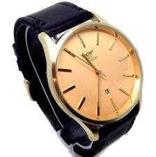 331A Men's  New Fashion Wrist Watch Black Leather Strap Stylish Gold Dial Quartz