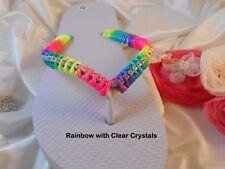 Rainbow Havaianas Slim Flip Flops with Swarovski Crystals Bridal Gift Sandals
