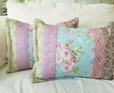2 Shabby Cottage Victoria Hill Floral Aqua Pink Quilted Accent Throw Pillows