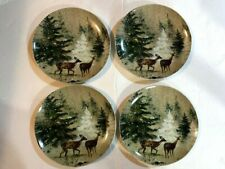 """Pottery Barn Deer In Snow 8"""" Salad Plates Set Of 4"""