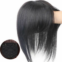 100% Human Hair Topper Clip in Hairpiece Toupee w/Straight Bang Hair Top Pieces